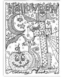 раскраски на хэллоуин печатать