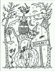 раскраски про хэллоуин распечатать бесплатно