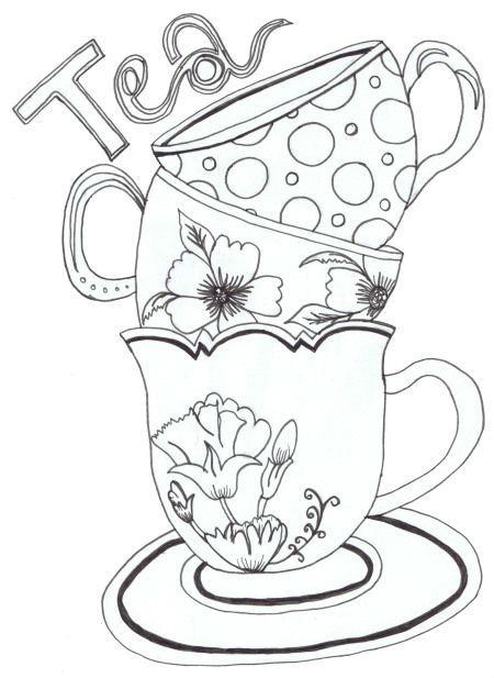 распечатать скачать чашка чая раскраска рисовака
