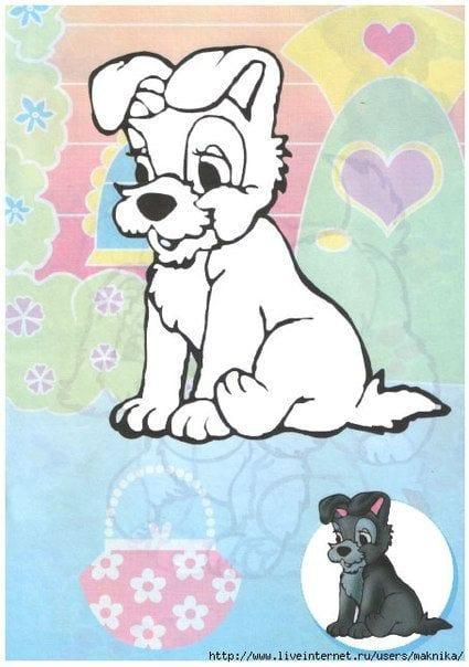 собака раскраска для самых маленьких