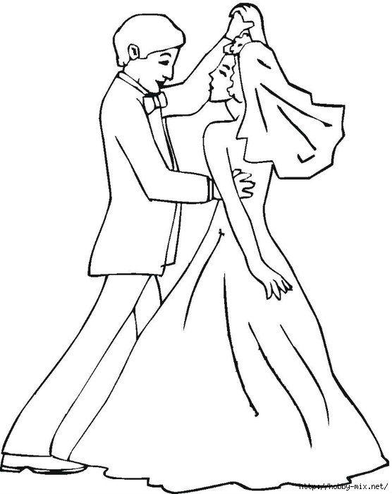 свадьба раскраска жених и невеста