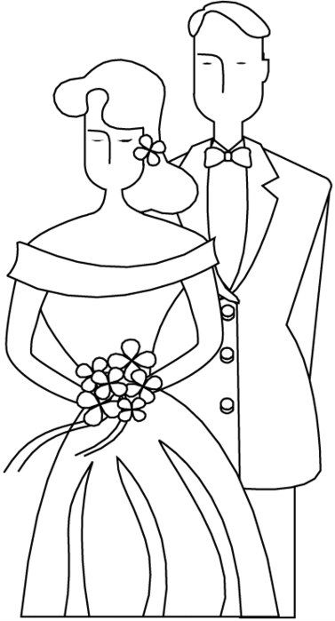 жених и невеста свадьба раскраска