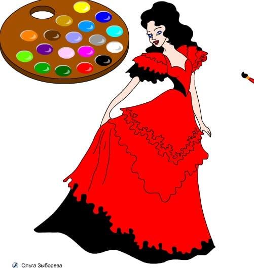 -в-бальном-платье-1 Раскраски онлайн