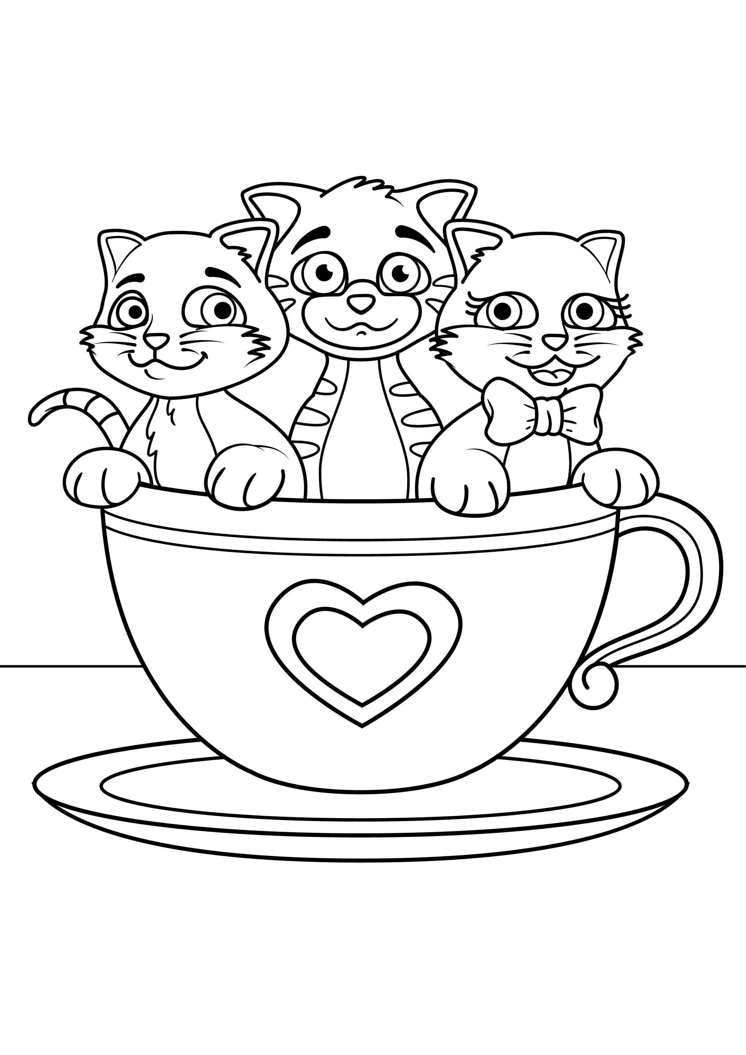 3 4 лет кошка раскраски детей - Рисовака
