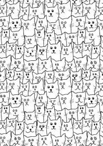 А4 антистрессовые раскраски кошки