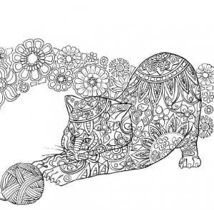 А4 арт раскраски кошки
