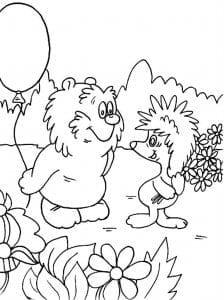А4 и медвежонка раскраска про ежика