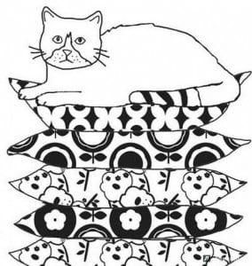 А4 картинка кошки для детей раскраска