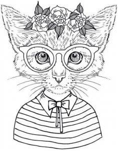 А4 кошка рисунок для детей раскраска