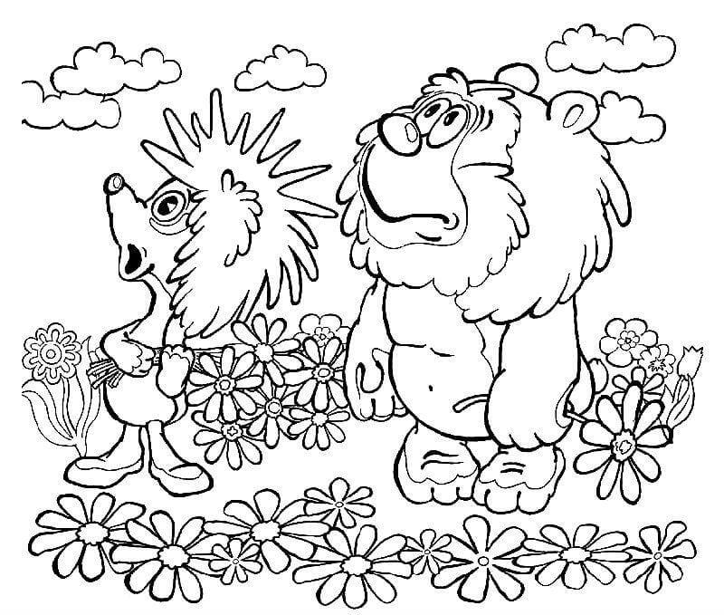 А4 медвежонок и ежик раскраска