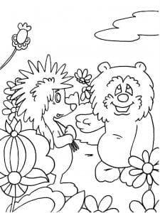 А4 про ежика и медвежонка раскраска