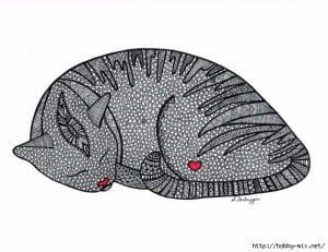 А4 раскраска кошки коты