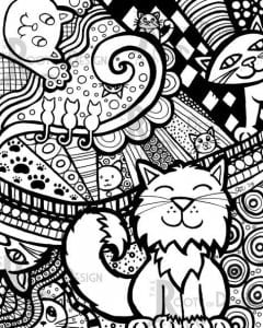А4 раскраска кошки pdf скачать