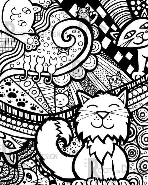 А4 раскраска кошки pdf скачать - Рисовака