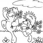А4 раскраска про ежика и медвежонка