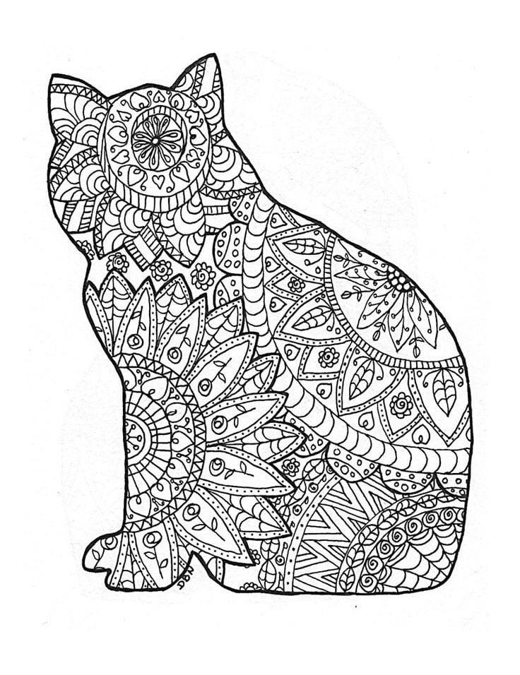 А4 раскраски антистресс кошки распечатать бесплатно формат ...