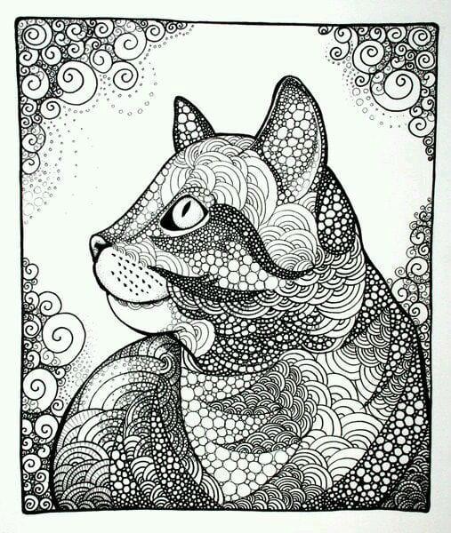 А4 раскраски антистресс кошки
