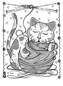 А4 раскраски антистресс животные кошки