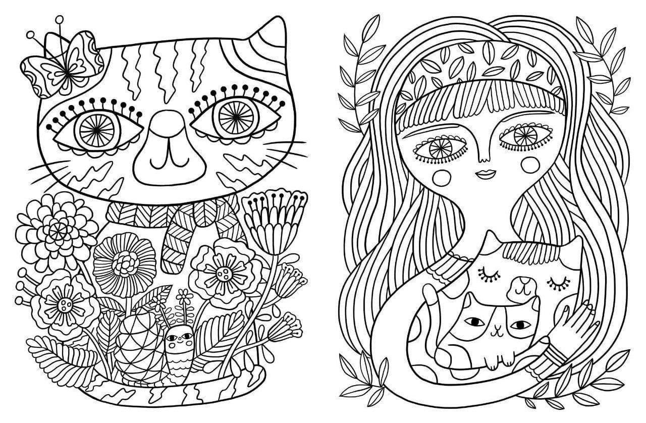 А4 раскраски для девочек распечатать животные кошки