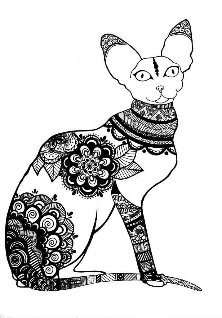А4 распечатать раскраски антистресс кошки - Рисовака