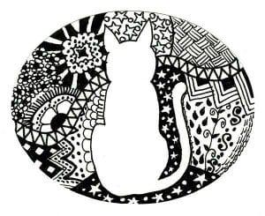 А4 сложные раскраски кошка