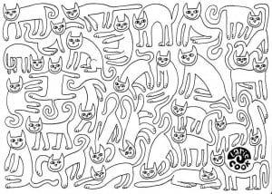 антистресс раскраски кошки картинки