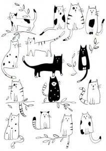 антистресс животные кошки раскраски