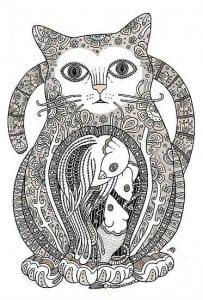 антистрессовые раскраски кошки