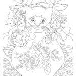 арт раскраски кошки А4