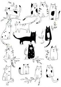 беспризорная кошка картинки раскраски