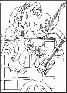 бременские музыканты раскраска