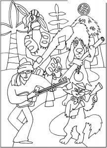 бременские музыканты распечатать бесплатно раскраски