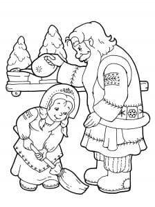Дед Мороз и Снегурочка раскраска (3)