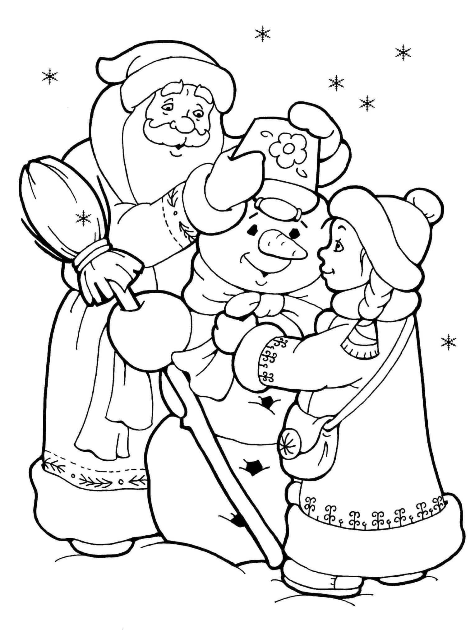 Дед мороз и снеговик картинки раскраски, открытка пятницей
