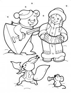 Дед Мороз и Снегурочка раскраска (7)