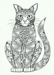 для детей раскраска картинка кошки