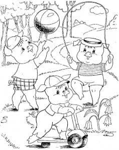 для детей раскраска картинки три поросенка