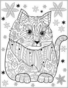 для детей раскраска кошка рисунок