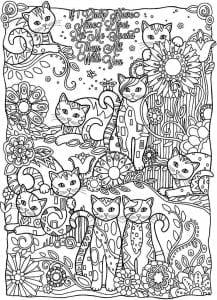 для девочек кошки котята бесплатно раскраски