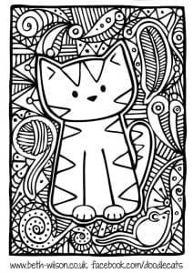 для девочек кошки распечатать раскраски