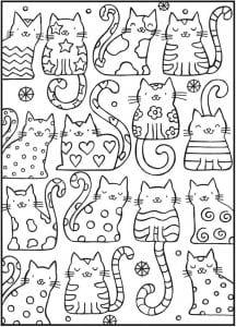 домашние кошки раскраски А4