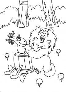 и медвежонка раскраска про ежика