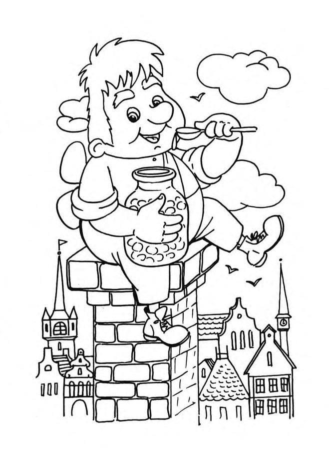 карлсон раскраска для детей