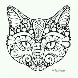картинки раскраски кошек