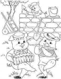 картинки три поросенка для детей раскраска
