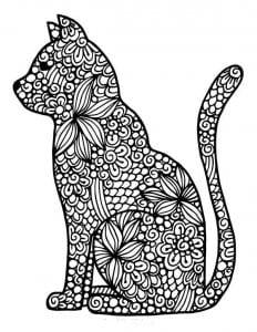 кошка раскраска для детей А4
