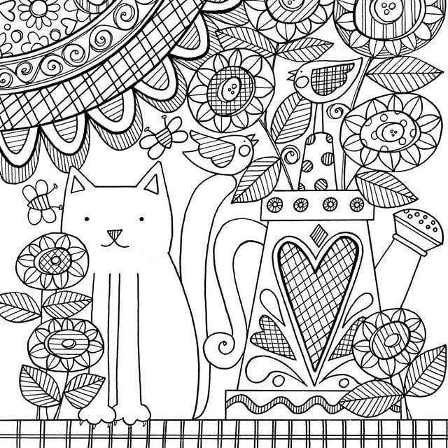 кошка раскраска женщина - Рисовака