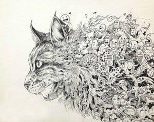 кошки для раскраски рисунок