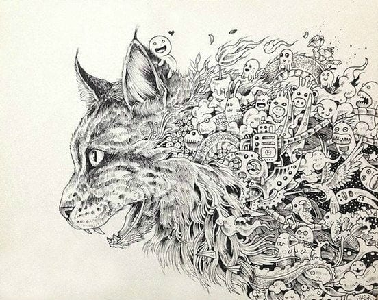 кошки для раскраски рисунок - Рисовака