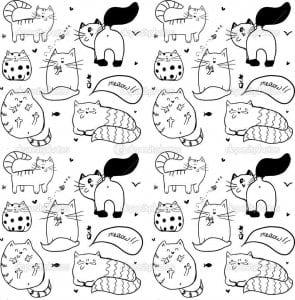 кошки раскраска распечатать картинка